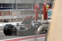 Kimi Raikkonen back in the pits