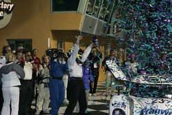 Victory lane: race winner Mike Rockenfeller celebrates