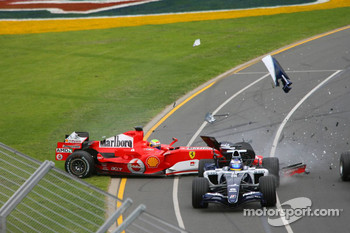 First corner: Felipe Massa spins out of control