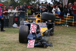 Wrecked car of Christian Klien