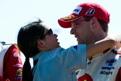 Sébastien Bourdais celebrates with his fiancé Claire Ragot