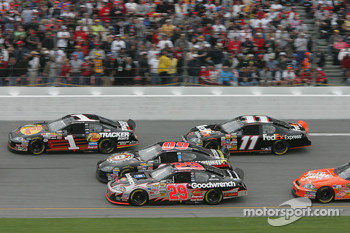 Martin Truex Jr., Mike Wallace, Kevin Harvick and Denny Hamlin
