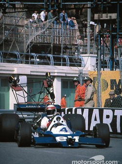 Jackie Stewart driving the Tyrrell 008 camera car