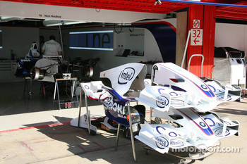 The car of Nick Heidfeld is prepared
