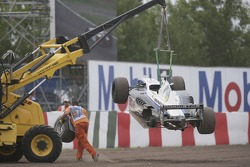 Andreas Zuber car is lifted from the track