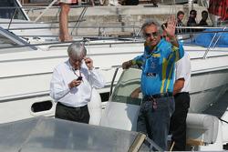 Bernie Ecclestone and Flavio Briatore discuss Michael Schumacher's qualifying incident