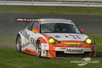 Mowing the grass in #92 Imsa Performance Matmut Porsche 996 GT3 RSR: Christophe Bouchut, Raymond Narac