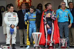 Podium: Race winner Fernando Alonso, second place Juan Pablo Montoya, third place David Coulthard