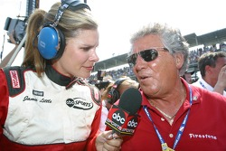 Jamie Little interviews Mario Andretti after the race