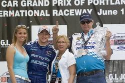 Victory podium: A.J. Allmendinger, Karen Allmendinger, Greg Allmendinger and fiancee Lynne Kushnirenko