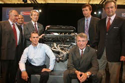 Peugeot Sport press conference: Éric Hélary and Peugeot Sport management pose with the new Peugeot V12 HDI FAP engine of the 2007 Peugeot 908