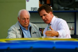 NASCAR television announcers Darrell Waltrip talks with U.S. Vice President Dick Cheney