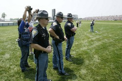 Police watch the action