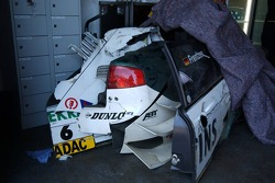 After the race parts of the car of Heinz-Harald Frentzen lie down in the garage