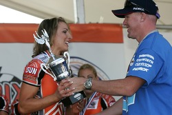 Paul Tracy congratulates Miss GP winner Natalie Waples