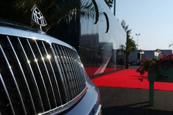 The Maybach of Bernie Ecclestone parked next to his motorhome in the paddock