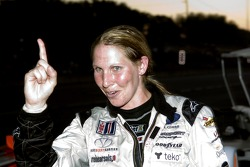 #37 Intersport Racing Lola B05/40 AER: Liz Halliday celebrates her victory in LMP2