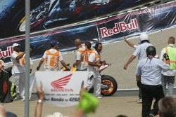Nicky Hayden celebrates the win
