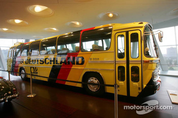 DaimlerChrysler Mercedes media warmup event: Mercedes-Benz 302 team touring coach in the Mercedes-Benz museum in Stuttgart