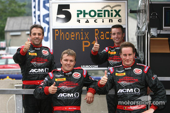 Pole winners Stephane Lemeret, Jean-Denis Deletraz, Andrea Piccini and Marcel Fassler celebrate
