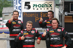 Pole winners Stephane Lemeret, Jean-Denis Deletraz, Andrea Piccini and Marcel Fassler celebrate