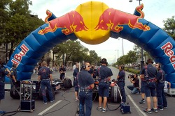 Running bulls rendez-vous in Budapest: Robert Doornbos and Neel Jani