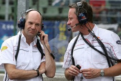 Chief technical officer Adrian Newey and team manager Jonathan Wheatley