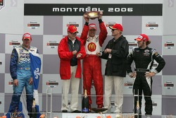 Podium: race winner Sébastien Bourdais with Paul Tracy and Nelson Philippe, and team owners Carl Haas and Paul Newman