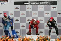 Podium: champagne for Sébastien Bourdais, Paul Tracy and Nelson Philippe