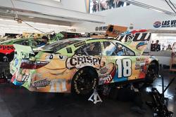 The crashed car of David Ragan, Joe Gibbs Racing Toyota