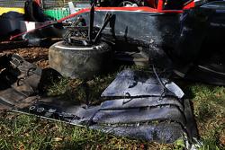 The damaged McLaren MP4-30 of Kevin Magnussen, McLaren after he crashed