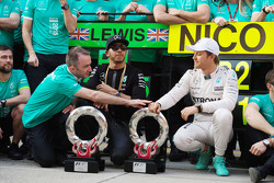 Paddy Lowe Mercedes AMG F1 Executive Director with race winner Lewis Hamilton Mercedes AMG F1 and second placed Nico Rosberg Mercedes AMG F1