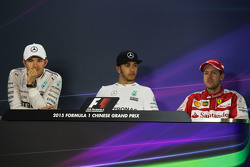 The post race FIA Press Conference: Nico Rosberg Mercedes AMG F1, second; Lewis Hamilton Mercedes AMG F1, race winner; Sebastian Vettel Ferrari, third