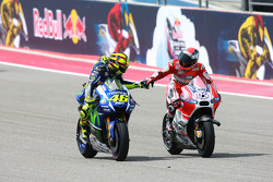 Second place Valentino Rossi, Yamaha Factory Racing and third place Andrea Dovizioso, Ducati Team