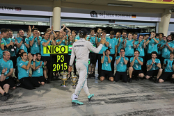 Nico Rosberg, Mercedes AMG F1 celebrates his third position with the team