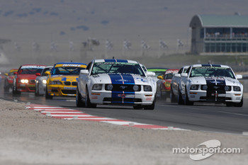 Start: #2 Blackforest Motorsports Mustang GT: Darren Law, Terry Borcheller in the lead approaching turn 1
