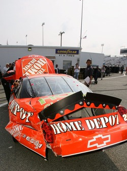 A view of the #20 The Depot Chevrolet, after crashing during practice