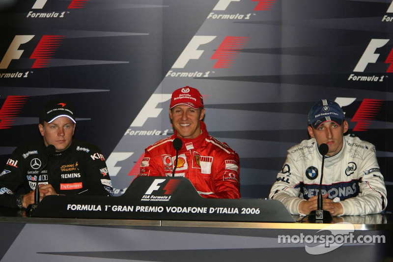 FIA press conference: race winner Michael Schumacher with Kimi Raikkonen and Robert Kubica