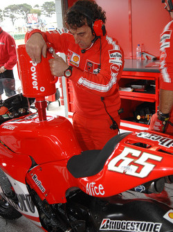 Ducati Corse team member at work