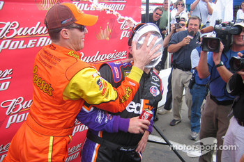 Kevin Harvick puts a pie in the face of Denny Hamlin as playful payback for Hamlin's actions on Live with Regis and Kelly on Thursday