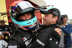 Pole winners Andrea Bertolini and Michael Bartels celebrate
