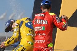 Podium: champagne for Marco Melandri and Valentino Rossi