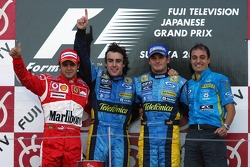 Podium: race winner Fernando Alonso with Felipe Massa, Giancarlo Fisichella and Frederic Lom