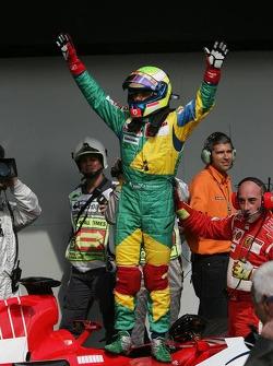 Pole winner Felipe Massa celebrates