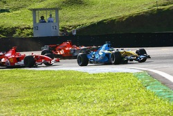 Giancarlo Fisichella leads Michael Schumacher