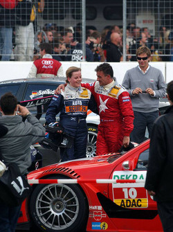 After the finish, Susie Stoddart says goodbye to Jean Alesi