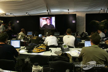 2006 World Rally Champion Sébastien Loeb talks to the media via satellite