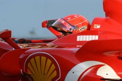 Michael Schumacher in his Scuderia Ferrari, 248 F1 for the last time