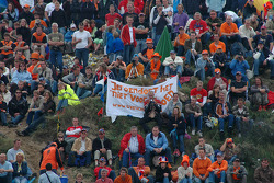 Dutch fans put up a sign saying