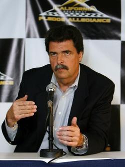NASCAR President Mike Helton, speaks to the media regarding changes to the California Speedway footprint